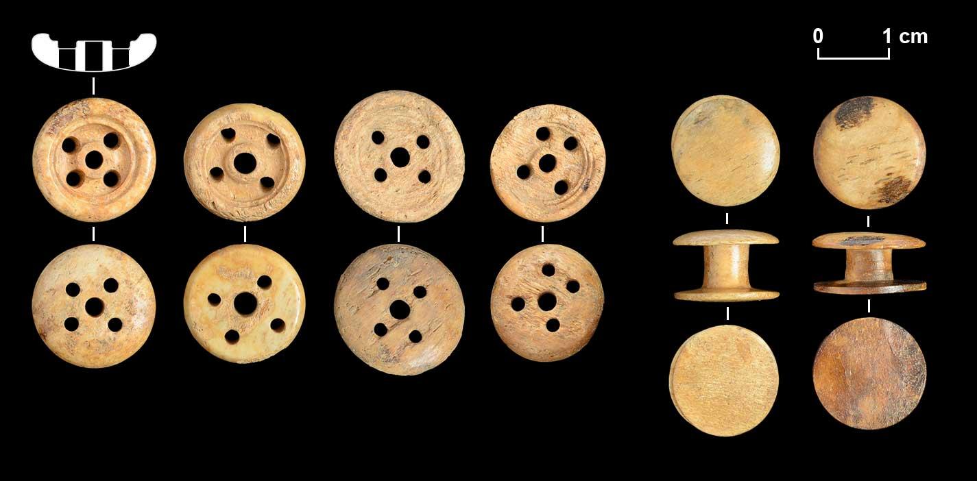 Beinknöpfe mit fünffacher Lochung. Knöpfe dieser Art wurden von den Drechslern/Beindrehern zumeist aus Rinderknochen gefertigt. Doppelknöpfe aus Bein.