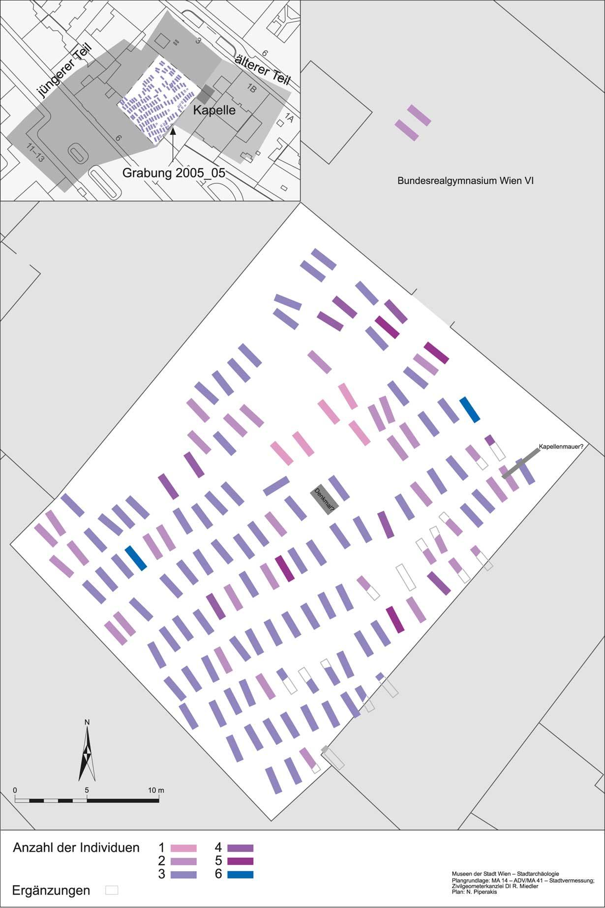Plan der freigelegten Gräber und die Verortung der Grabungsfläche auf dem Friedhofsareal. (Plan: Stadtarchäologie Wien)