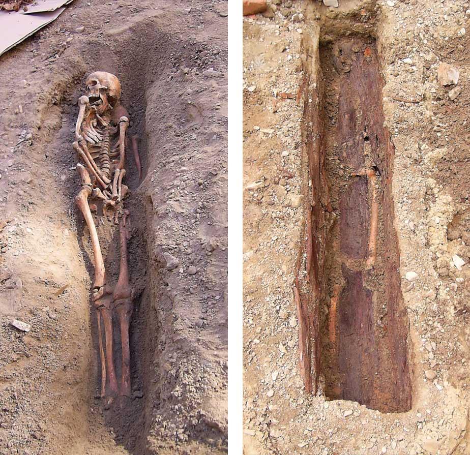 Links: Die oberste von drei Bestattungen. Rechts: Grabgrube mit Holzsargresten.