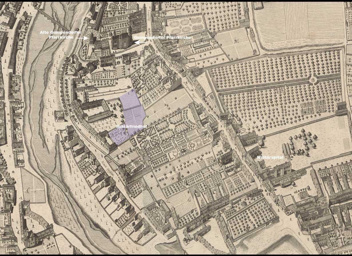 """Der """"Militär-Kirchhof"""" und seine Erweiterung sind farbig hervorgehoben. Detail aus J. D. Huber, Perspektivdarstellung von Wien und den Vorstädten bis zum Linienwall, 1769–1773 (1778). (Wien Museum, Inv.-Nr. 196.846/2, 3, 9, 10, 11)"""