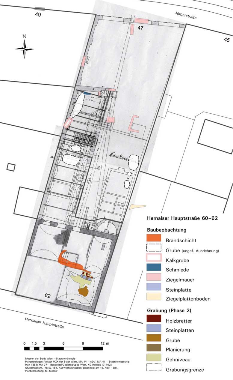 Überblicksplan mit den Befunden der archäologischen Untersuchungen, überlagert mit dem Hausgrundriss im Jahr 1881.