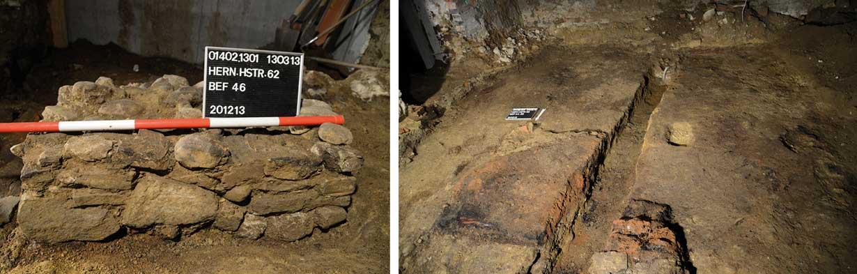 Phase3: Trennmauer im Kellerraum. | Brandhorizont und gestampfter Lehmboden.