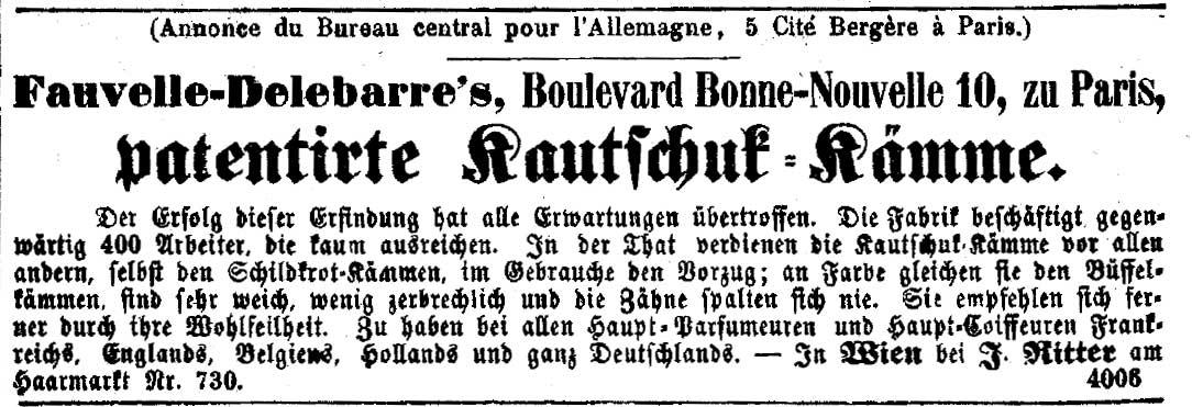 """Inserat für """"Kautschuk-Kämme"""" der Firma Fauvelle-Delebarre. Die Presse, 18. Oktober 1855, Seite 6 (ANNO/Österreichische Nationalbibliothek)"""